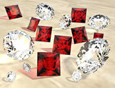 Rubies and diamonds — Stock Photo