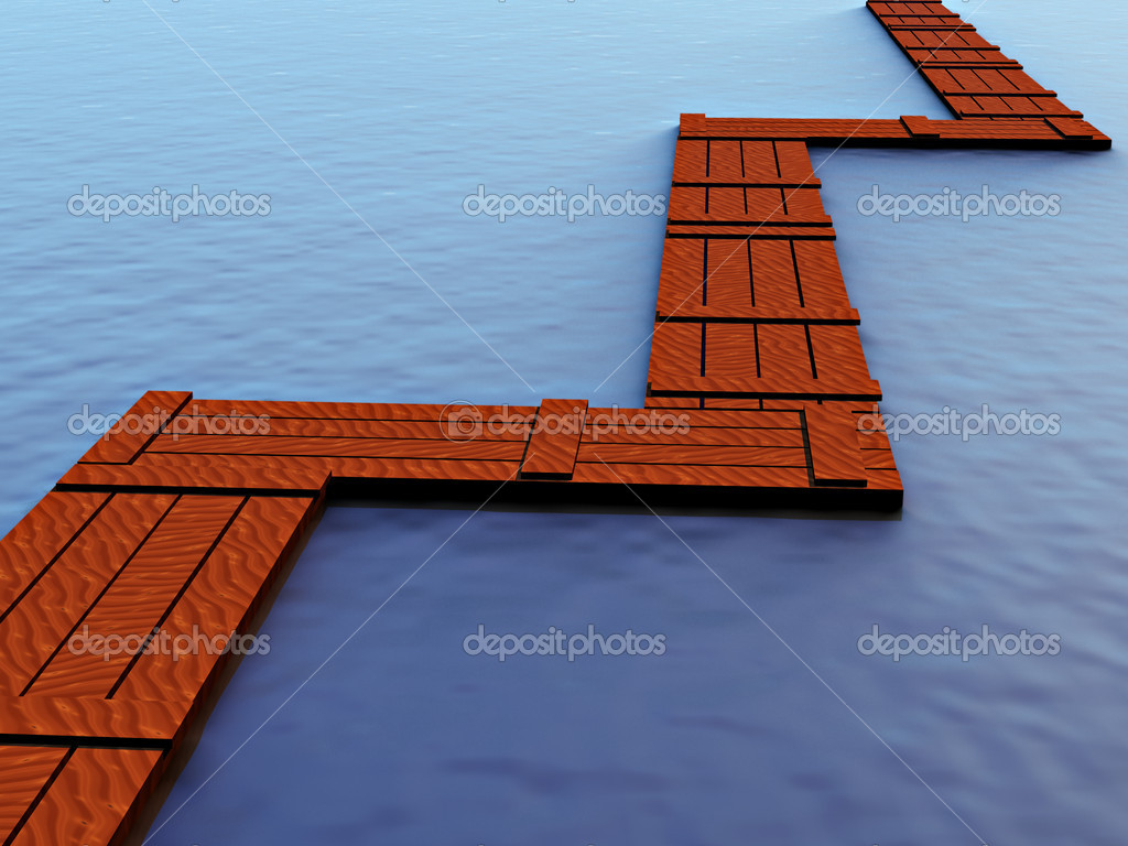 A rough wooden plank bridge across the water — Stock Photo #1698599
