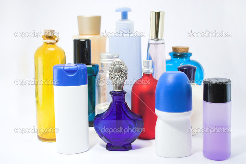 Bottles and jars of beauty aids — Stock Photo #1733563