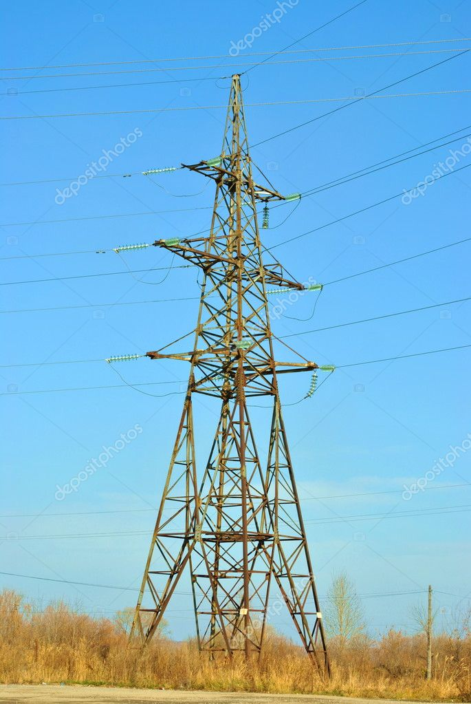 Old and rusty metal High-voltage electric main. — Stock Photo #2451894