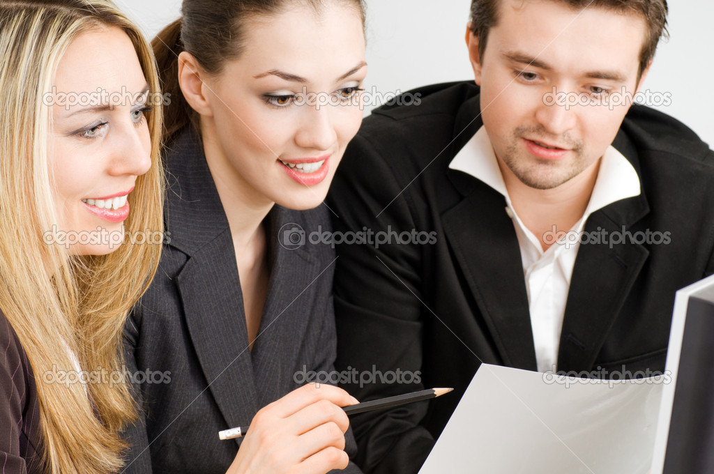 Team of successful smiling young business  Stock Photo #1597626