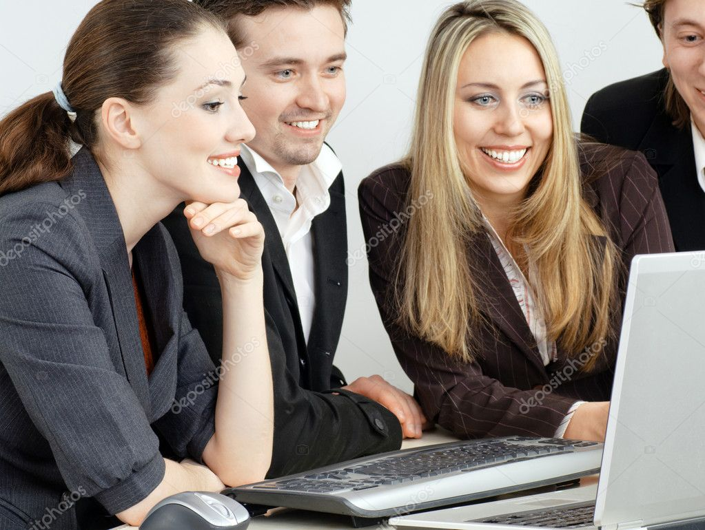 Team of successful smiling young business — Stock Photo #1597645