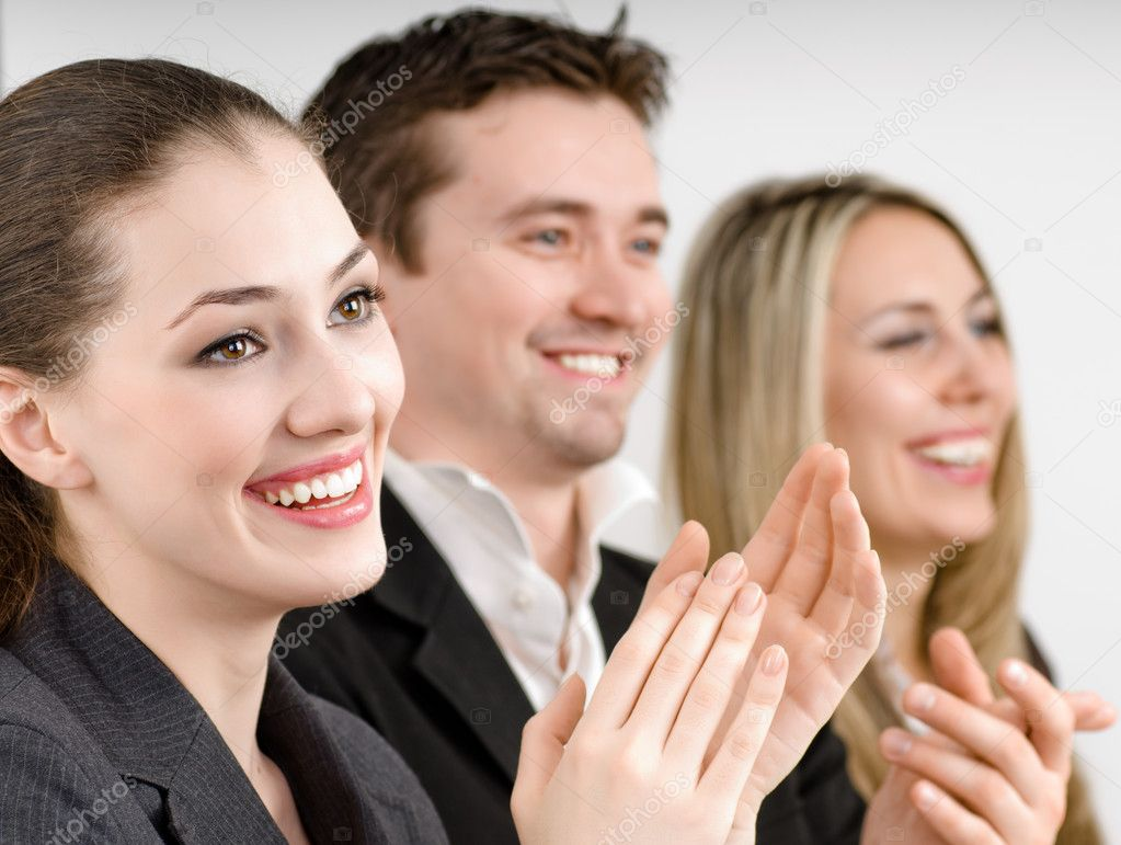 Team of successful smiling young business  Stock Photo #1597655