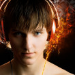 Stock Photo: Mwith headphones on