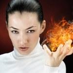 Fire woman — Stock Photo