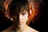 Man with headphones on — Stock Photo