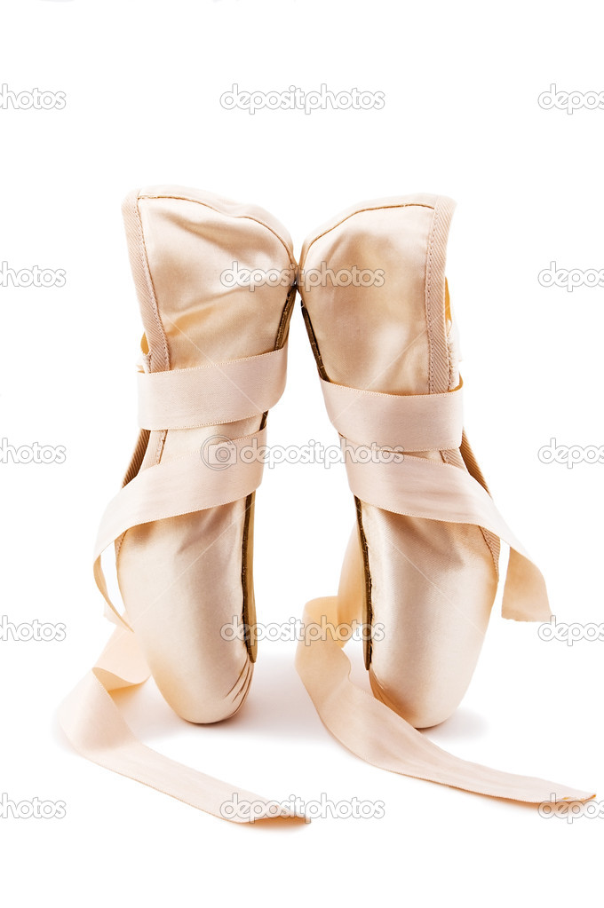 Brand new ballet shoes on a white background — Stock Photo #1642735