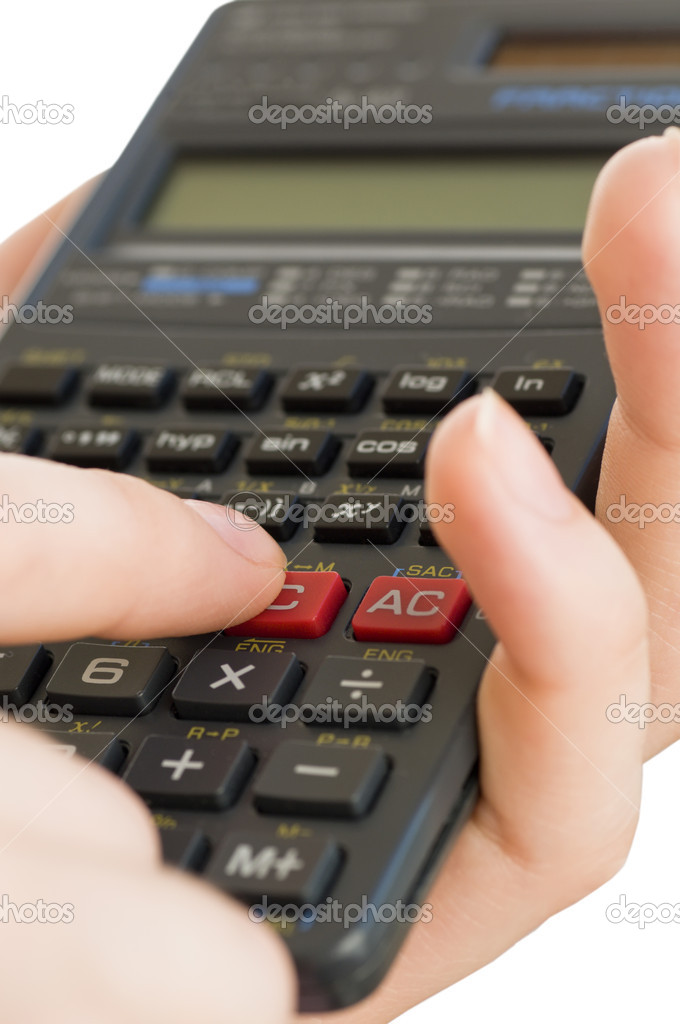 Hand holding a calculator on the white background — Stock Photo #1716782