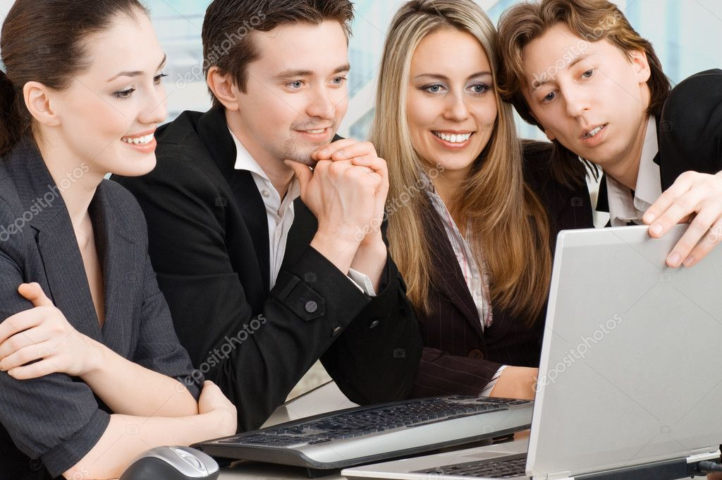 Team of successful smiling young business — Stock Photo #1723482