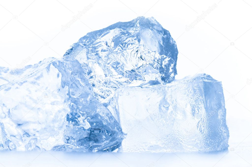 Transparent ice cube on the white background — Stock Photo #1724493