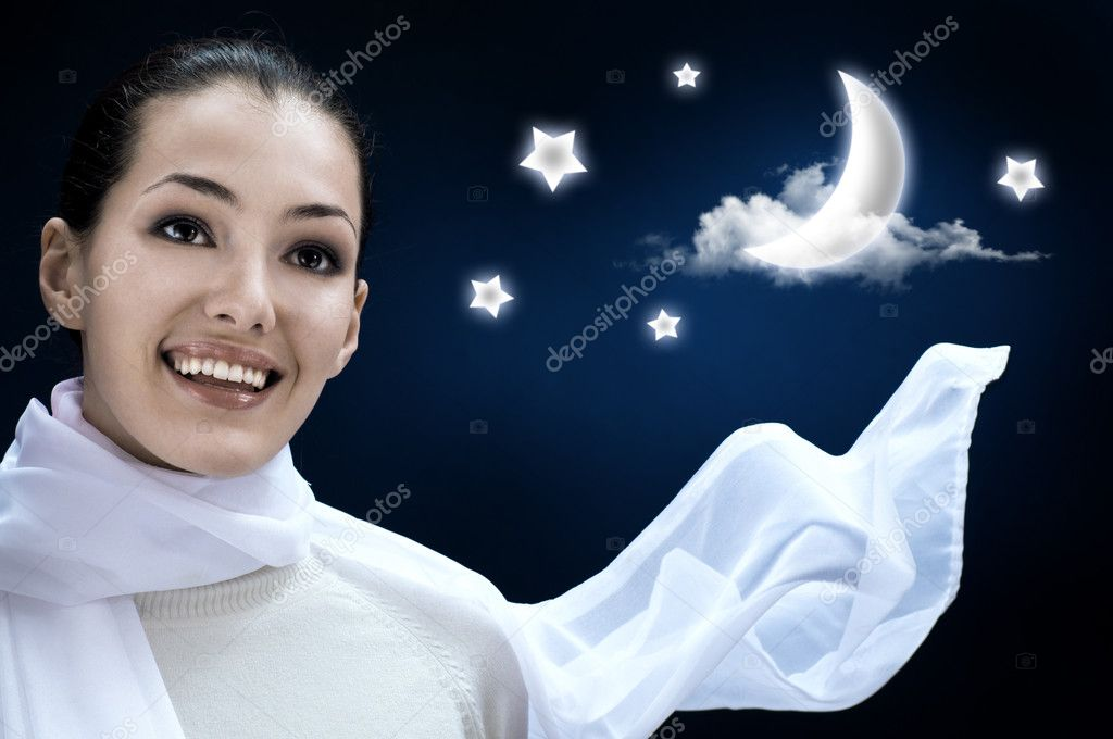 A beauty girl on the night background — Stock Photo #1724556