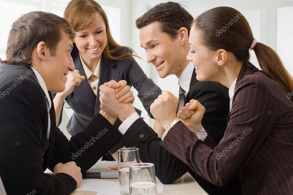 Team of successful smiling young business — Stock Photo #1760787