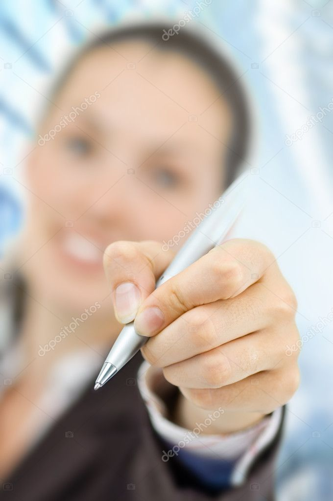 A beautiful business woman enjoying her success — Foto de Stock   #1760846