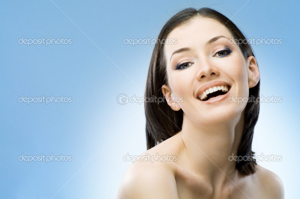 A beauty girl on the blue background  Stock Photo #1788301