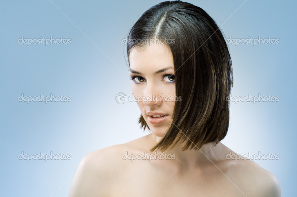 A beauty girl on the blue background — Stock Photo #1788310