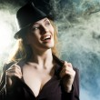 Stock Photo: Girl in smoke
