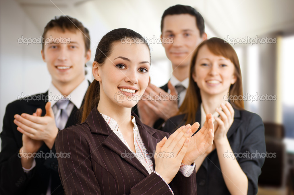 Team of successful smiling young business — Stock Photo #1823405