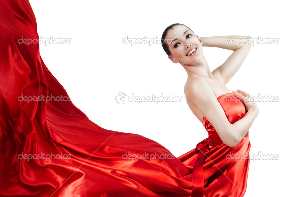 Beautiful young woman in red long dress — Stock Photo #1823701