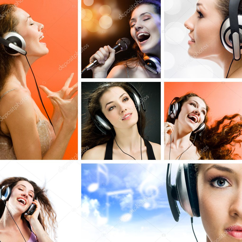 Collage. girl singing at the revelry party — Stockfoto #1930161