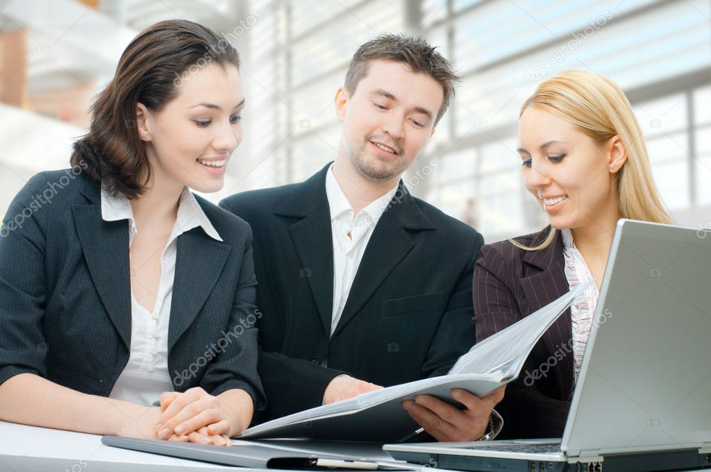 Team of successful smiling young business  Stock Photo #2050081