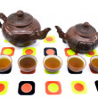 Clay teapots and cups — Stock Photo