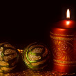 Christmas card with burning candles — Stockfoto