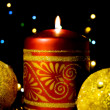 Christmas card with burning candles — Stock Photo #1586382