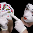 Royalty-Free Stock Photo: Mime  with royal flush