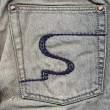 Pocket of jeans with an embroidery - Foto Stock