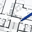 Plan of apartment with a pencil — Stockfoto