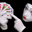 Mime with playing cards — Stock Photo #1587945