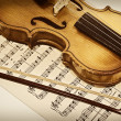 Old violin and musical notes — Stock Photo #1588669