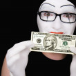 Mime in white gloves  with 10 dollar — Stock Photo