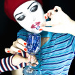 Stock Photo: Portrait of girl mime