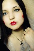 Beautiful woman with dark blue eyes — Stock Photo