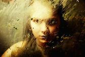 Sad girl behind dirty glass — Stock Photo