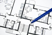 Plan of apartment with a pencil — Stock Photo