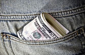 USA fifty dollars in pocket of jeans — Stok fotoğraf
