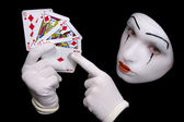 Mime with playing cards — Stock Photo