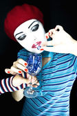 Portrait of the girl mime — Stock Photo