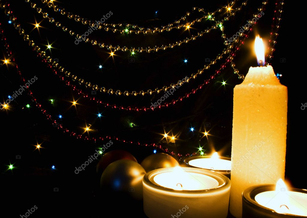 Candles and Christmas-tree decorations — Stock Photo #1587964