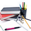 Pens and books - Stock Photo