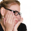 The dissatisfied girl in points on a lig — Stock Photo