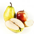 Yellow pear and red apple isolated — Stock Photo