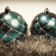 kaart met kerstboom decoratie — Stockfoto