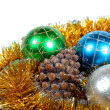 Christmas ornaments and fur-tree snag — Stock Photo