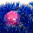 Hristmas card with pink mirror sphere — Stock Photo