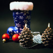 Christmas-tree decorations and candles - Stock Photo