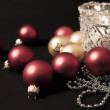 Candles with christmas-tree decorations — Stok fotoğraf