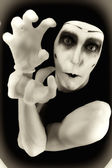 Portrait of the crazy mime — Stock Photo